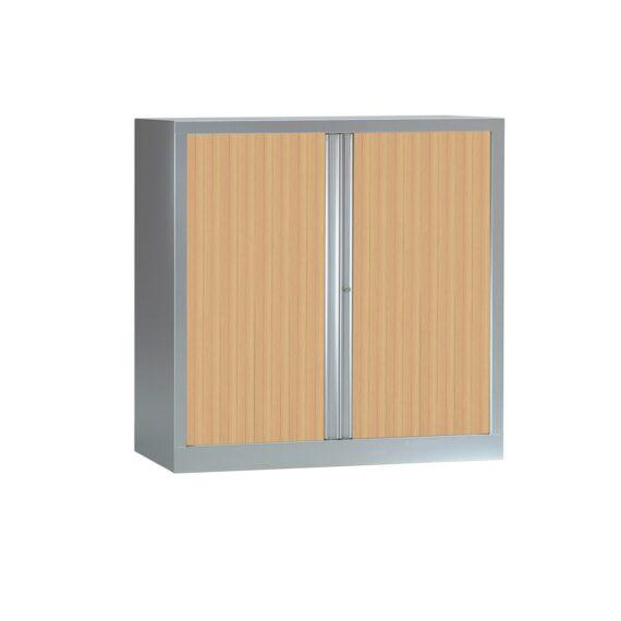 Armoire à rideaux série PLUS H1200 x L1200 aluminium / chêne clair