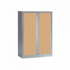Armoire Série PLUS structure aluminium et rideaux chêne h136 l100