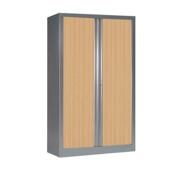Armoire à rideaux série PLUS H1608 x L1000 aluminium / chêne clair