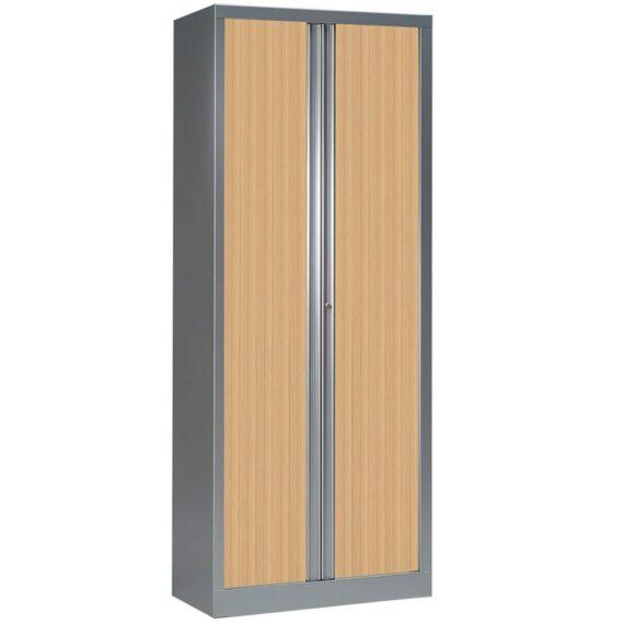 Armoire série PLUS aluminium rideaux chêne h198 l80