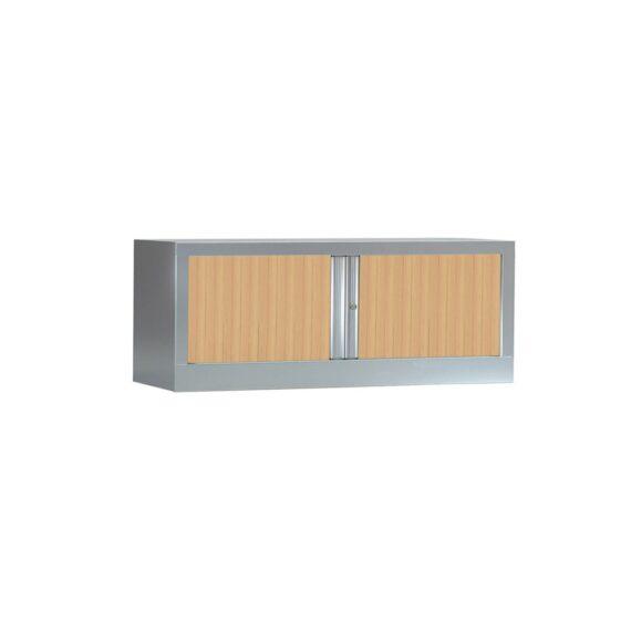 Armoire de bureau Série PLUS structure aluminium et rideaux chêne h44 l1200
