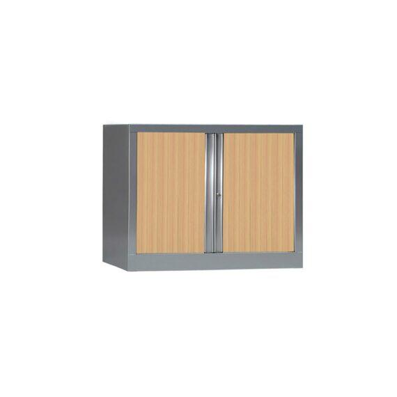 Armoire de bureau Série PLUS structure aluminium et rideaux chêne h70 l100