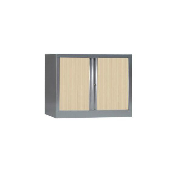 Armoire de bureau Série PLUS structure aluminium et rideaux érable h70 l100