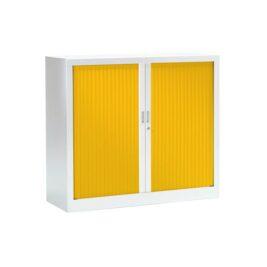 Armoire basse pour bureau série FUN structure et tablettes blanches, rideaux jaunes