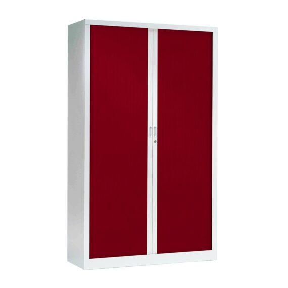 Armoire Haute structure Alu, rideaux rouges