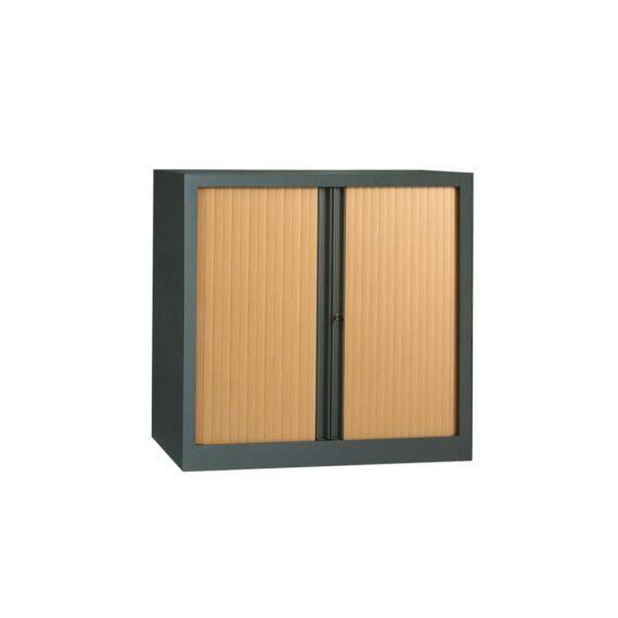 Armoire anthracite rideaux hêtre en KIT H1000 x L1000