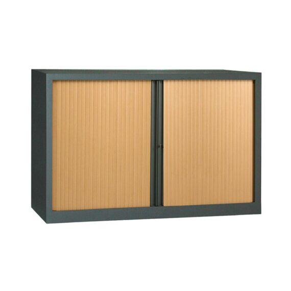 Armoire anthracite rideaux hêtre en KIT à monter H1000 x L1600