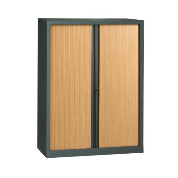 Armoire anthracite rideaux hêtre en KIT H1608 x L1200
