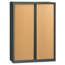 Armoire en KIT à monter grande largeur H1980 x L1400 anthracite / Hêtre