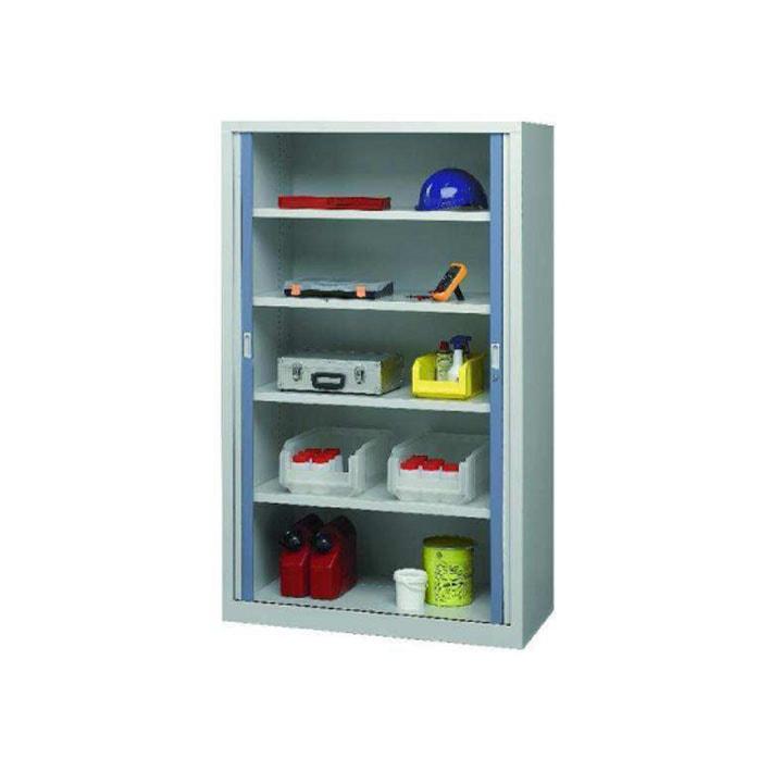 Armoire industrielle d'atelier à rideaux modèle 1 ouverte