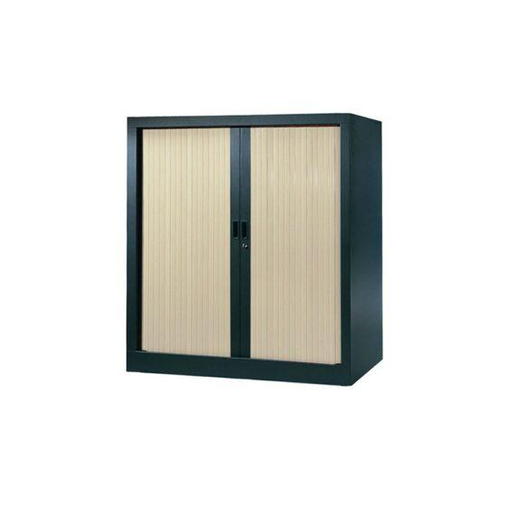 Armoire de bureau Série A structure anthracite et rideaux érable h100 l100