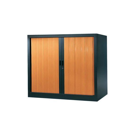 Armoire de bureau Série A structure anthracite et rideaux pommier h100 l120