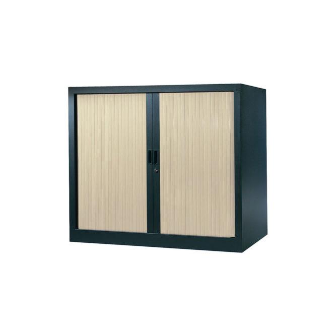 Armoire de bureau Série A structure anthracite et rideaux érable h100 l120