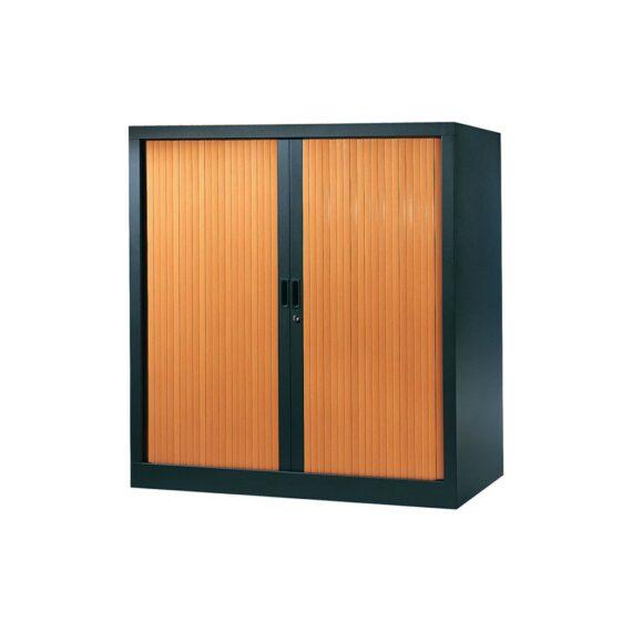 Armoire de bureau Série A structure anthracite et rideaux pommier h120 l120
