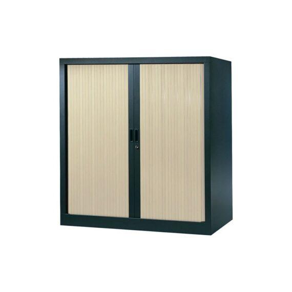 Armoire de bureau Série A structure anthracite et rideaux érable h120 l120