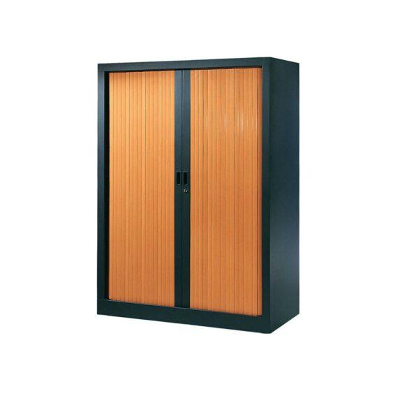 Armoire de bureau Série A structure anthracite et rideaux pommier h136 l100