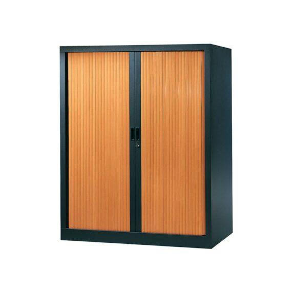 Armoire de bureau Série A structure anthracite et rideaux pommier h136 l120