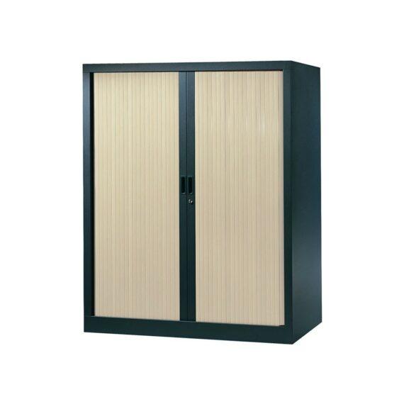Armoire de bureau Série A structure anthracite et rideaux érable h136 l120