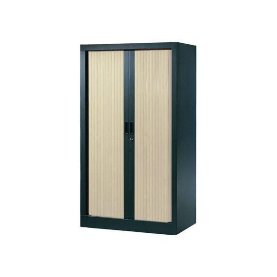 Armoire de bureau Série A structure anthracite et rideaux érable h136 l80