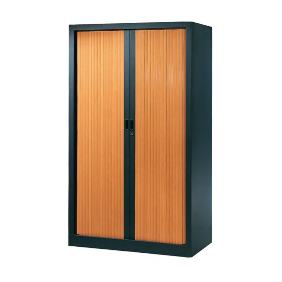 Armoire de bureau Série A structure anthracite et rideaux pommier h160 l100