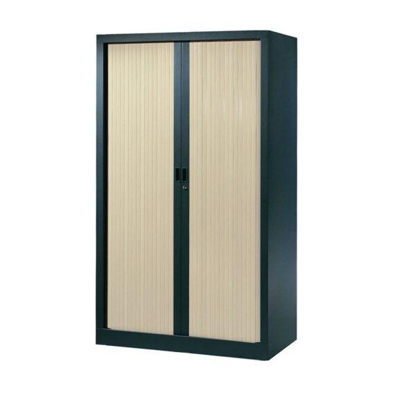 Armoire de bureau Série A structure anthracite et rideaux érable h160 l100