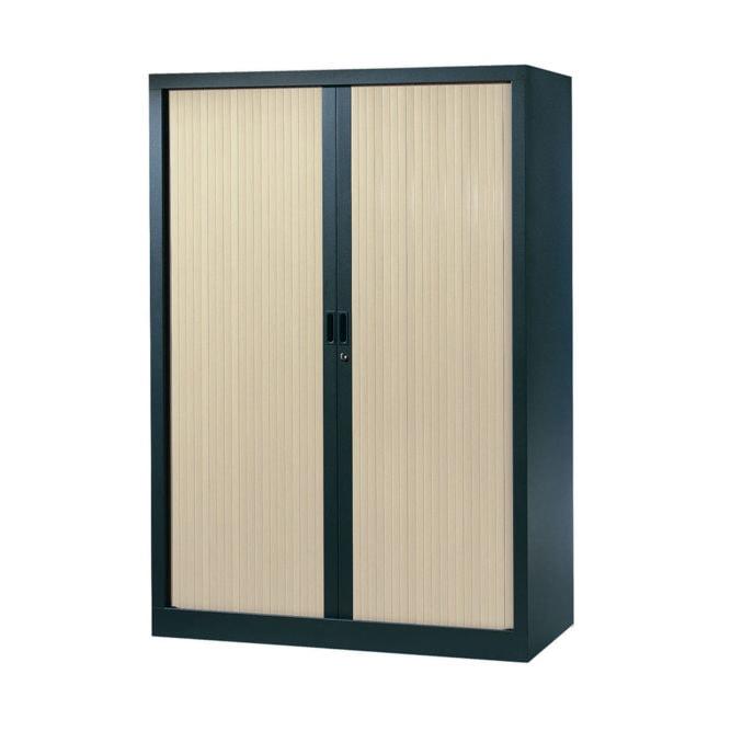 Armoire de bureau Série A structure anthracite et rideaux érable h160 l120
