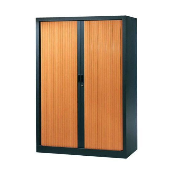 Armoire de bureau Série A structure anthracite et rideaux pommier h160 l120