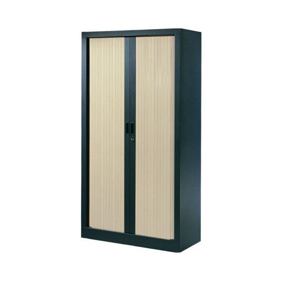 Armoire de bureau Série A structure anthracite et rideaux érable h160 l80