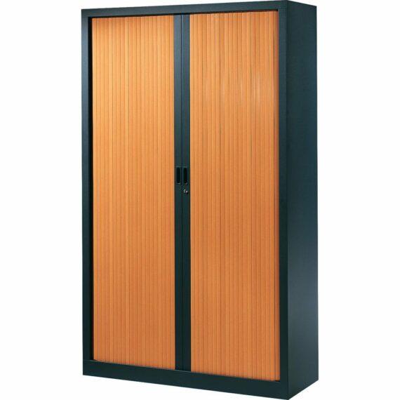 Armoire de bureau Série A structure anthracite et rideaux pommier h198 l120