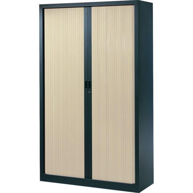 Armoire de bureau Série A structure anthracite et rideaux érable h198 l120