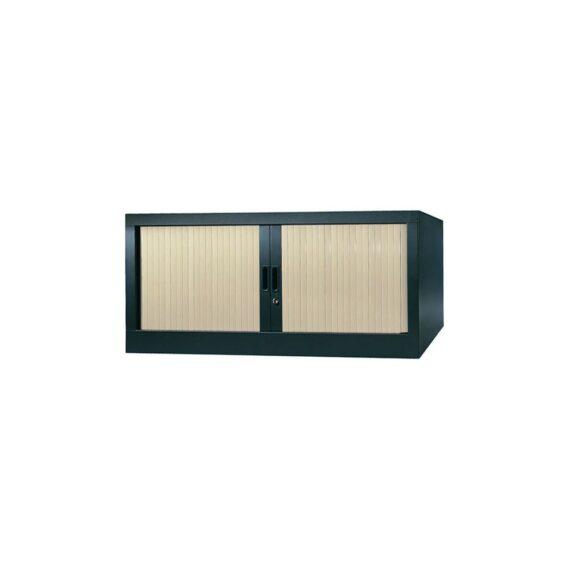 Armoire de bureau Série A structure anthracite et rideaux érable h44 l120