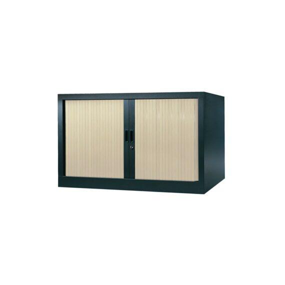 Armoire de bureau Série A structure anthracite et rideaux érable h70 l120