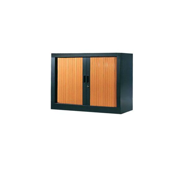 Armoire de bureau Série A structure anthracite et rideaux pommier h70 l80