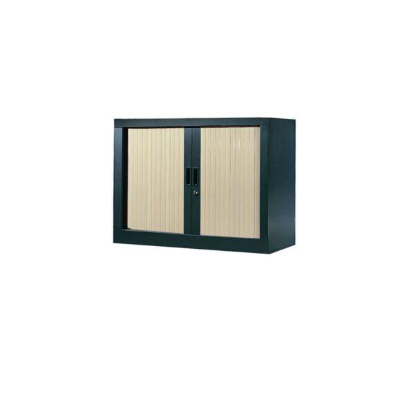 Armoire de bureau Série A structure anthracite et rideaux érable h70 l80
