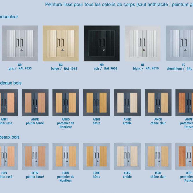 Coloris disponibles pour les armoires à rideaux série A