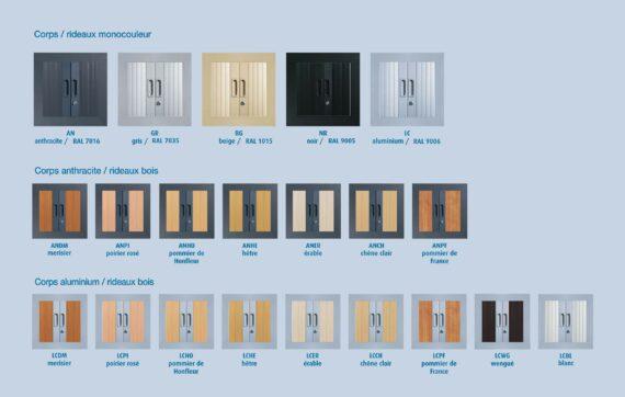 Palette de coloris des armoires en KIT à monter série PLUS