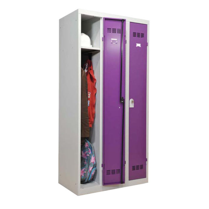 Vestiaire industrie propre 3 cases dont une ouverte coloris prune