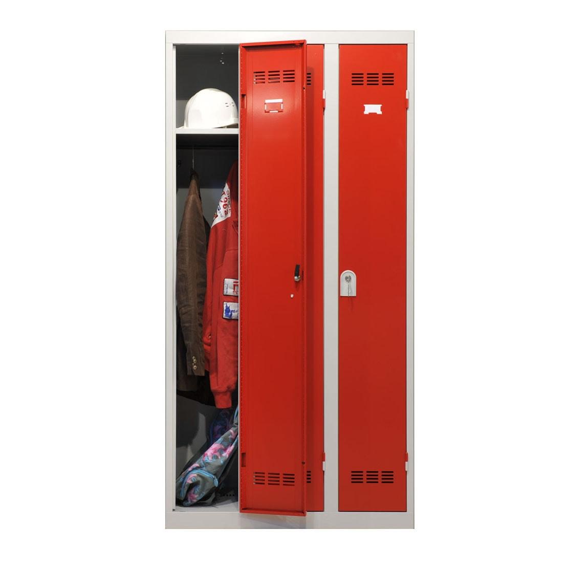 Vestiaire industrie propre 3 cases dont une ouverte coloris rouge