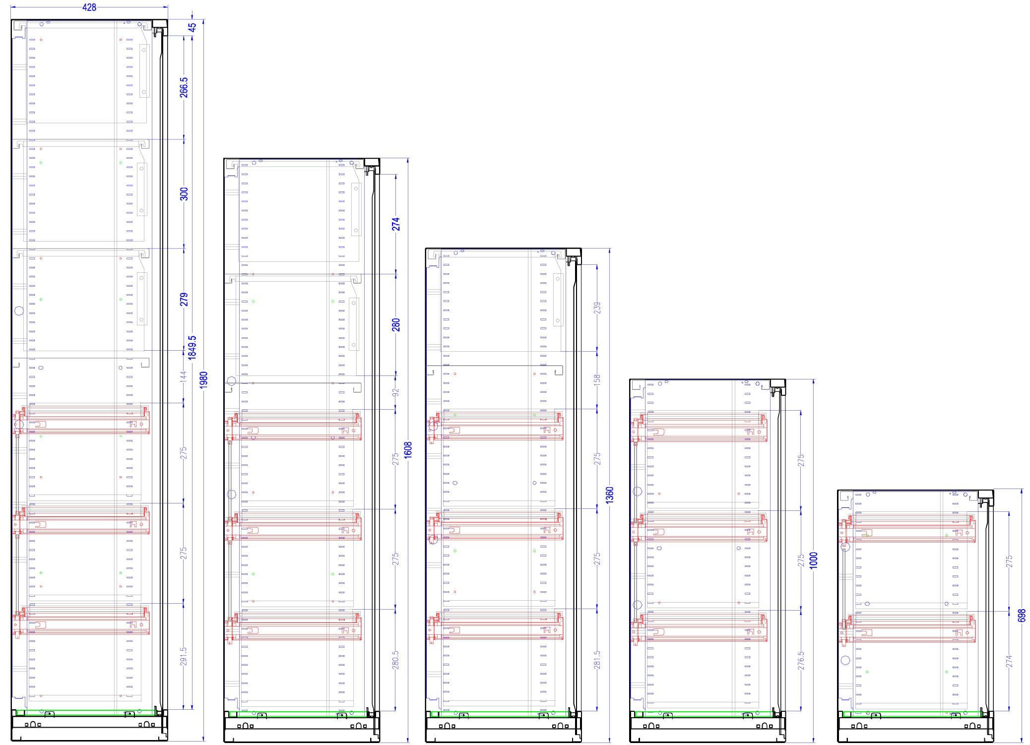 Capacité d'agencement des armoires en châssis télescopique