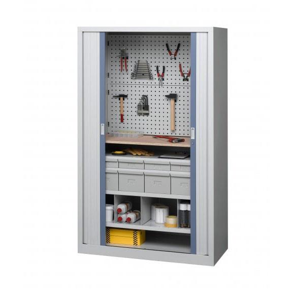 Armoire industrielle d'atelier à rideaux modèle 3 ouverte