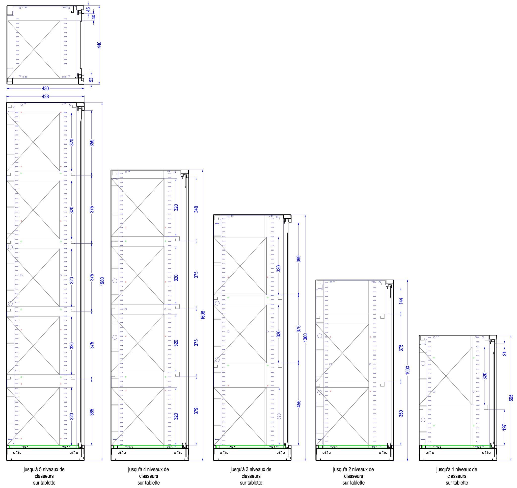 Capacité d'aménagement en classeurs pour tous les formats d'armoires