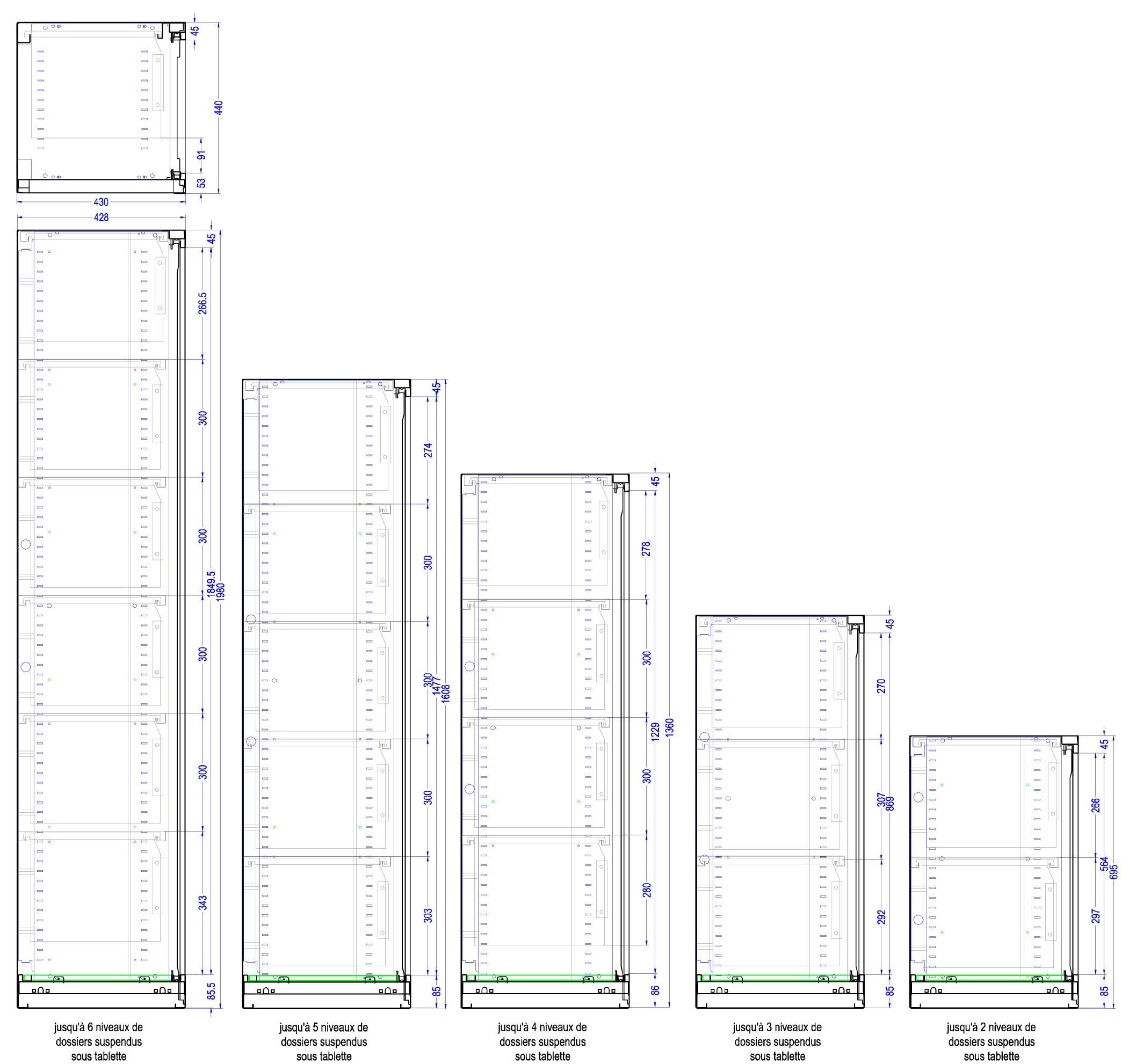 Capacité d'aménagement en dossiers supendus pour tous les formats d'armoires