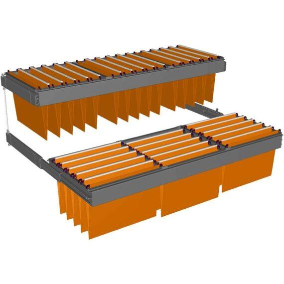 Dessin technique de 2 châssis télescopiques liés par un système anti basculement.