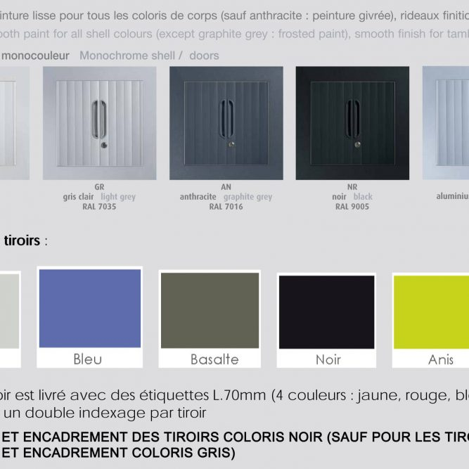 Palette de coloris pour la série armoire à rideaux sd tiroirs
