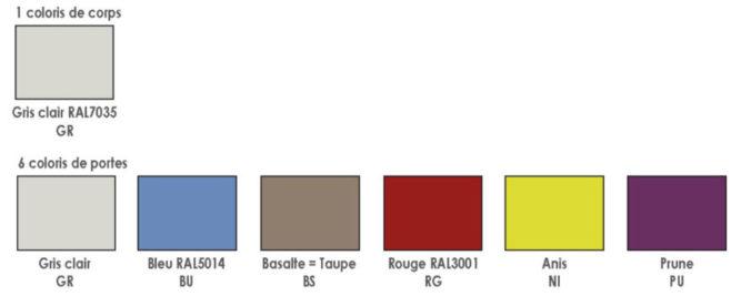 Palette de couleur des vestiaires Armoire PLUS
