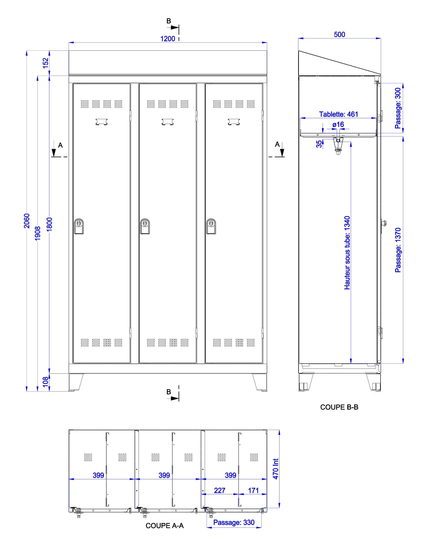 Toutes le dimensions utiles du vestiaire métallique industrie sale