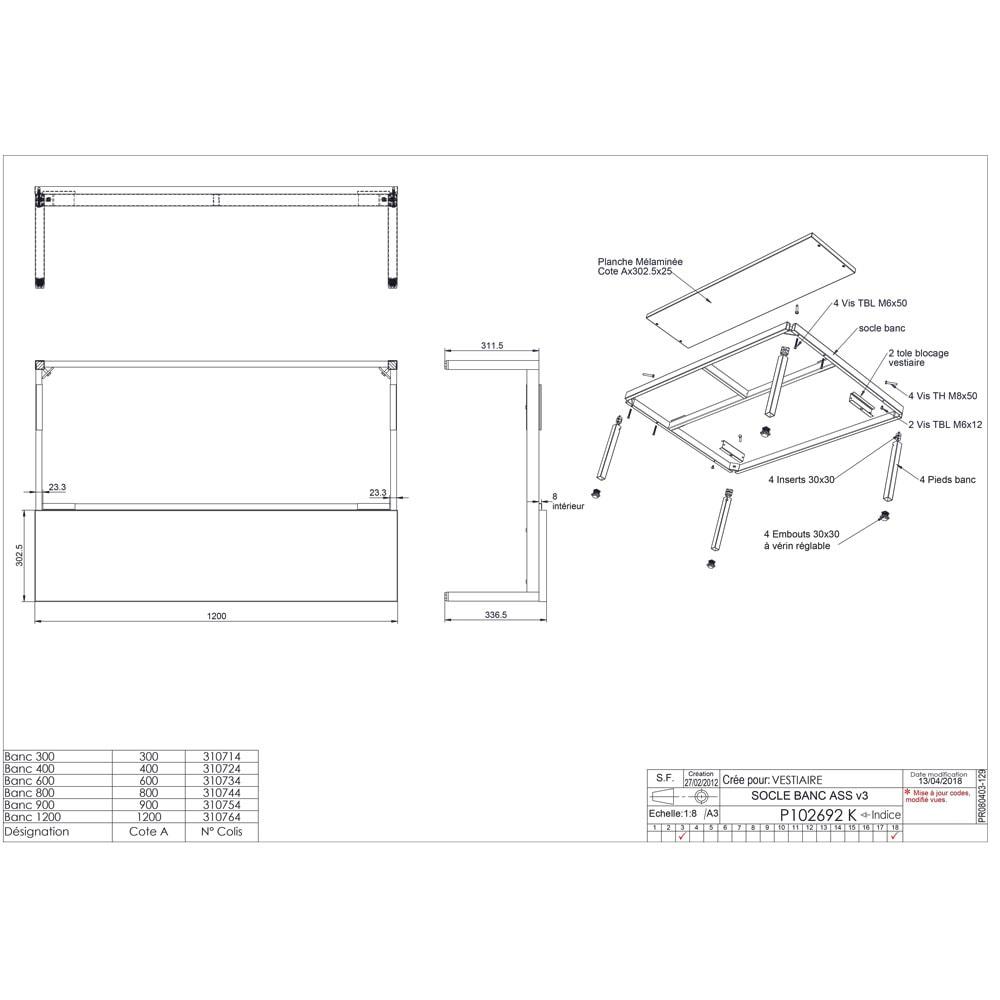 socle banc pour vestiaire | armoire plus