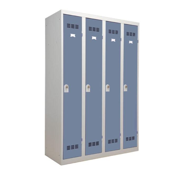 Vestiaire industrie propre 4 cases coloris bleu