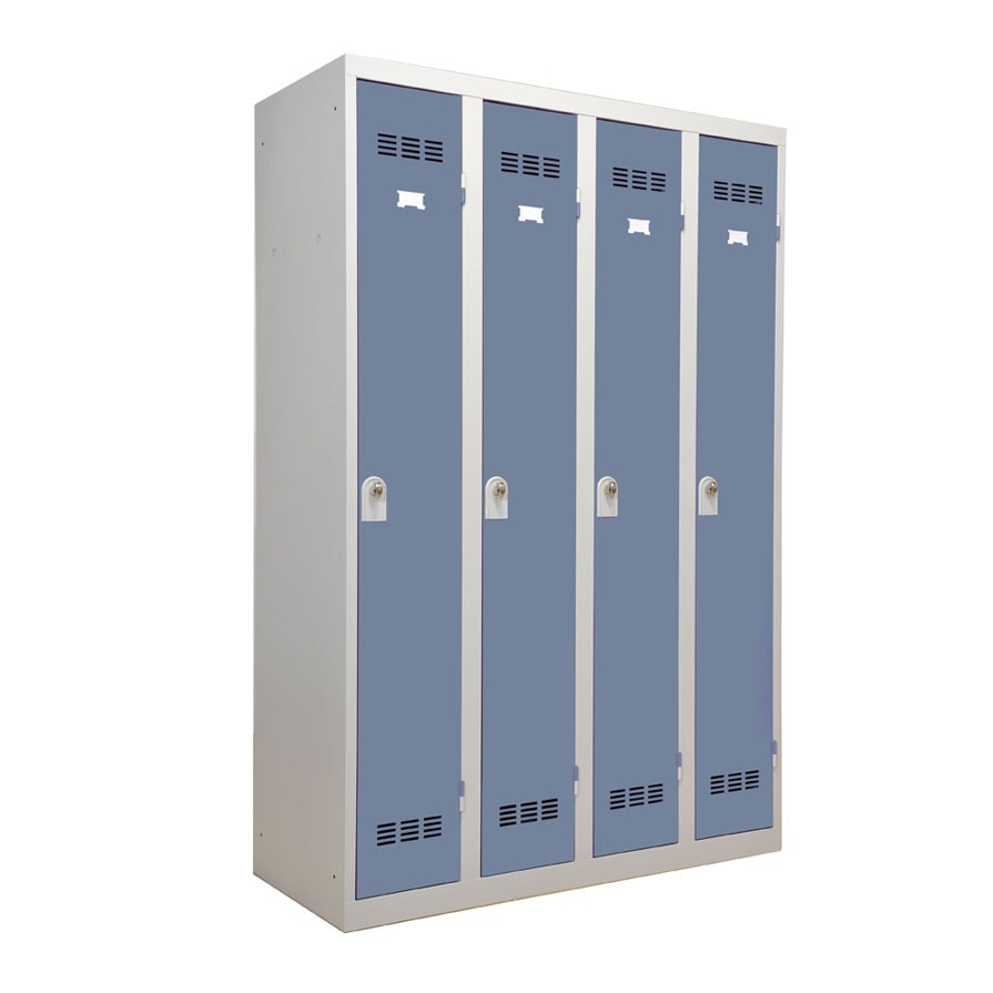 Vestiaire industrie propre 4 cases coloris bleu