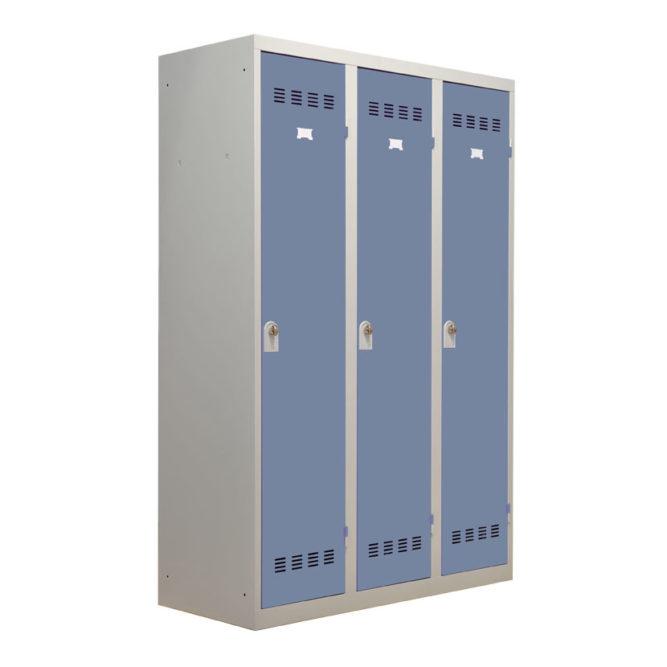 Vestiaire industrie salissante 3 cases portes bleues fermées